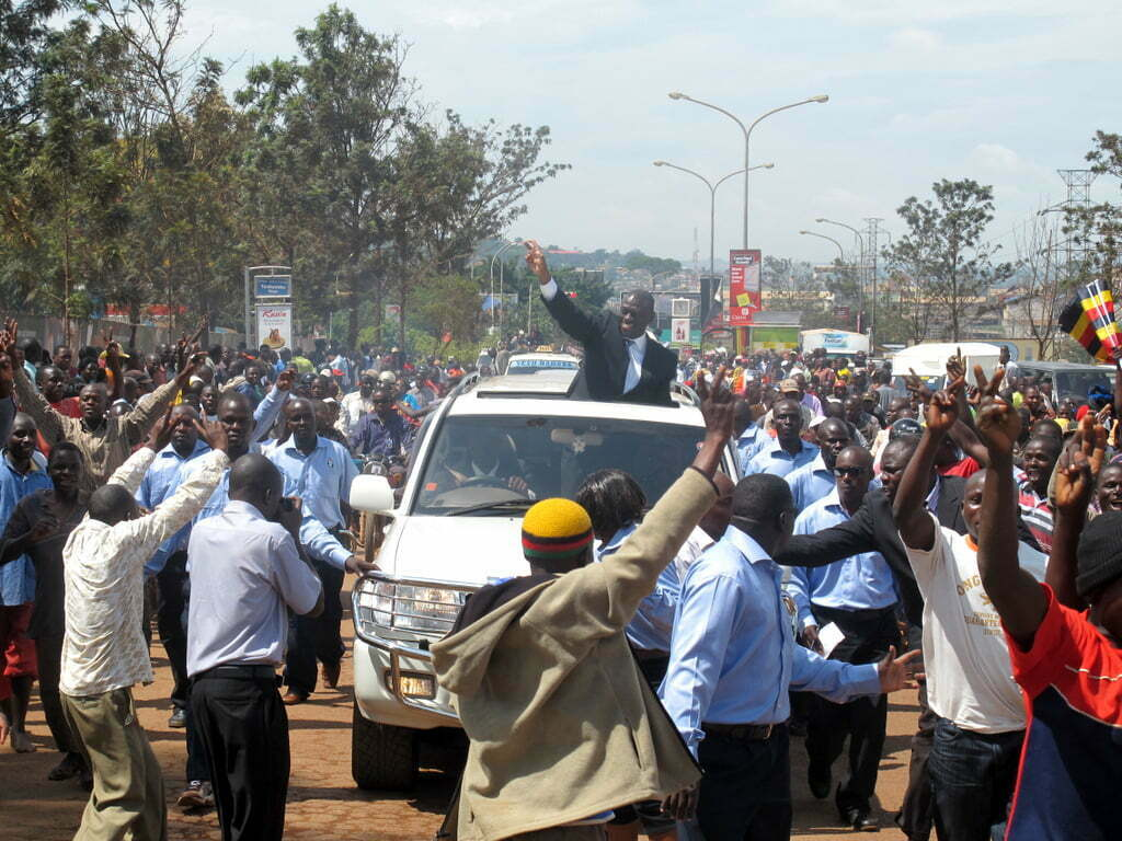Besigye supporters ride to greet their candidate in Kabale (Edward Echwalu)