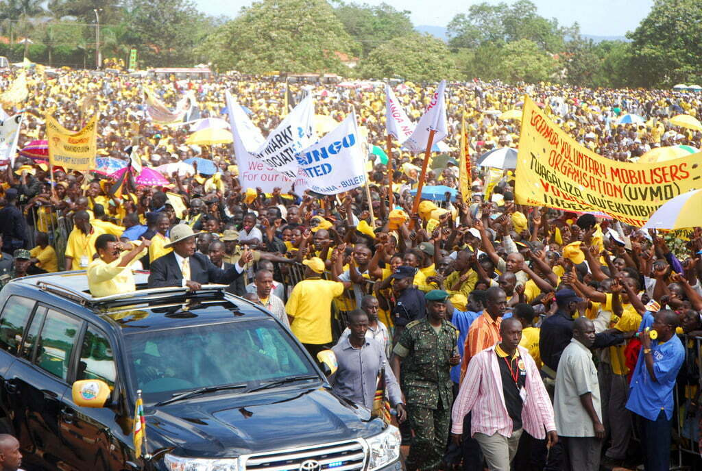 Museveni rolls into a rally in Lubaga District (Michael Nsubuga)