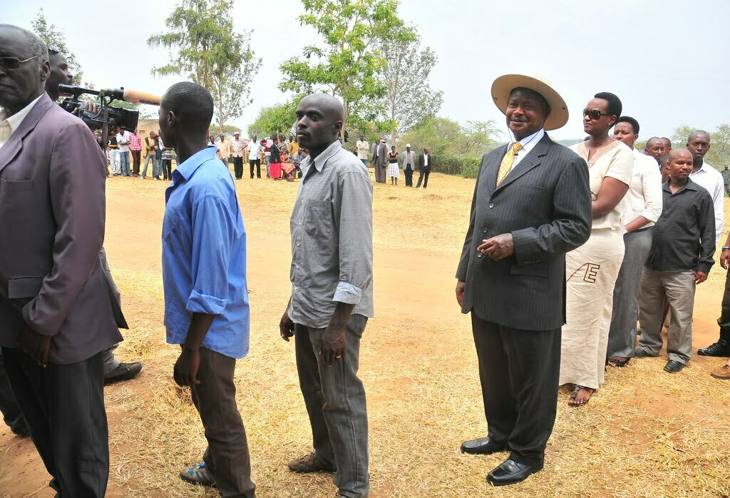 President Museveni waits in line to vote in Kiruhura District (Ronald Kabuubi)