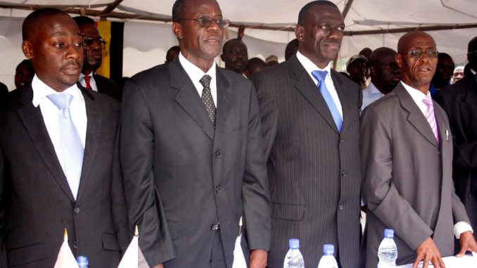 Micheal Mabikke, Hussein Kyanjo, Kiiza Besigye and Prof. Kigongo. The four remaining bulls in the IPC. Courtesy Photo.