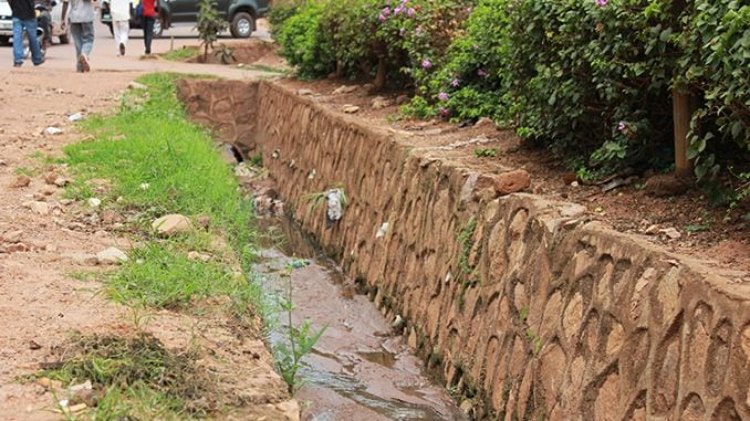 A gaping trench at the Namugongo/Kibuli road in Kampala