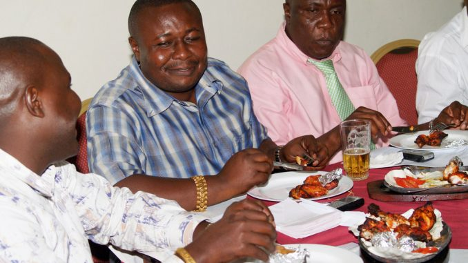 Two of Kampala's property moguls, Godfrey Kirumira and Kasiwukira.