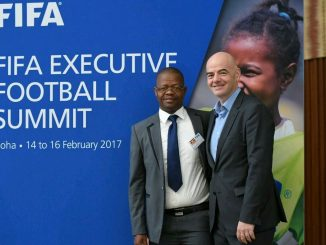 Uganda FA President Moses Magogo and FIFA President Gianni Infantino in Qatar on on February 16th, 2017. Courtesy Photo..