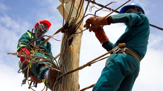Technicians repair power broken power lines. Courtesy Photo