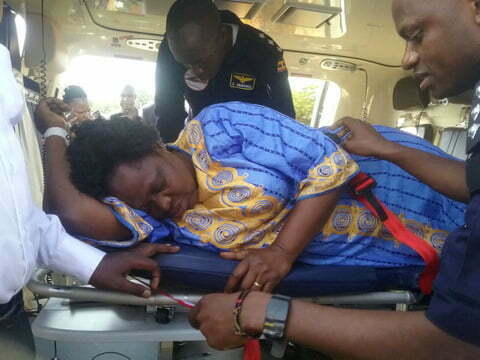 Beatrice Anywar being airlifted to Kampala