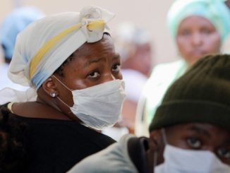 Patients in a tuberculosis center in South Africa