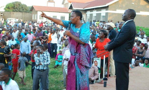 Mukono Municipality MP Betty Nambooze addressing a rally in Masaka