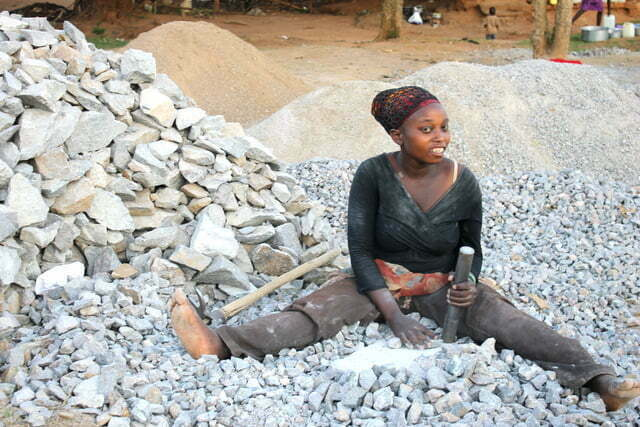 Ms Nakiboneka Jane at a Stone Quarry, Muyenga – Bukasa