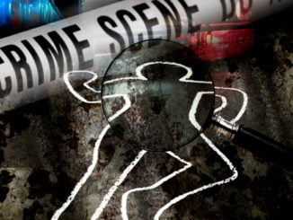 Crime scene; body chalk outline of a murdered victim. Internet Photo.