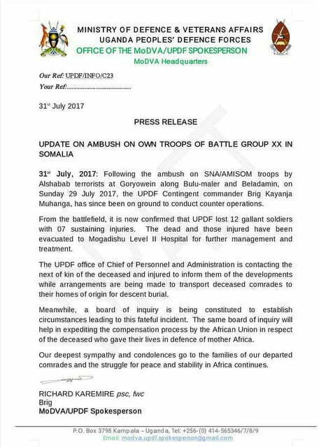12 UPDF officers killed in Somalia in an ambush