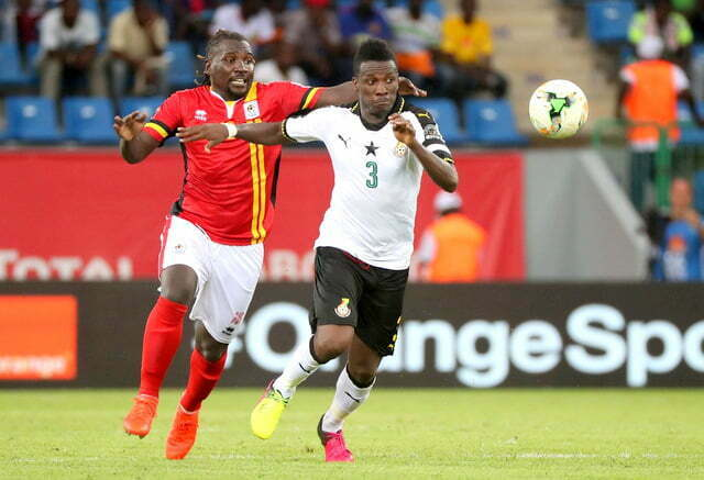 Uganda Cranes battling Ghana at the 2017 Afcon in Port Gentil, Gabon