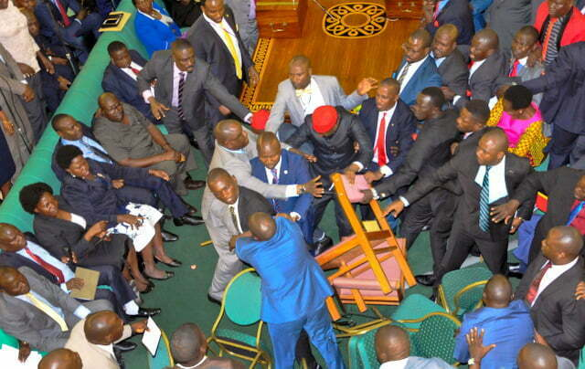 Ugandan lawmakers brawl in the Parliament