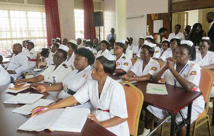Ugandan Nurses attending the briefing on the MPs visit