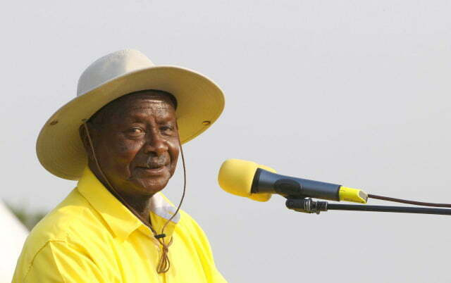Uganda's President and ruling party National Resistance Movement (NRM) presidential candidate Yoweri Museveni