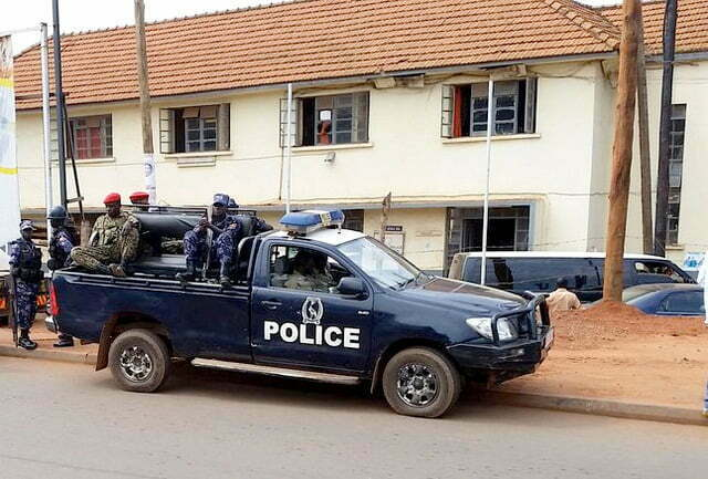 Police truck parked at-Kira police station