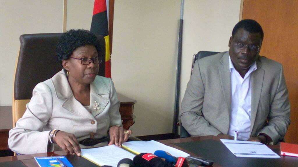 Health Minister, Dr Ruth Aceng (L) and Dr Bernard Opar, the Focal Person for Nodding Syndrome (R) during a press briefing