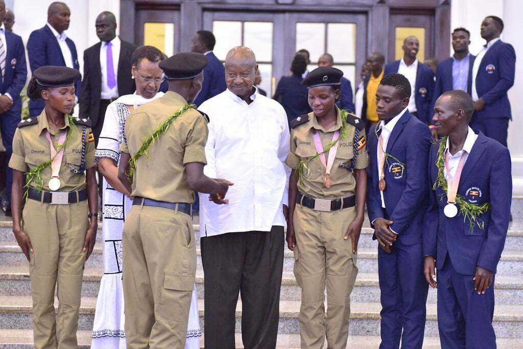 President Museveni and wife Janet with the 2018 Commonwealth Games medalists at State House Entebbe