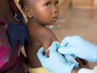 A child who had turned for immunisation in the recently concluded exercise in Masaka Municipality (COURTESY PHOTO).