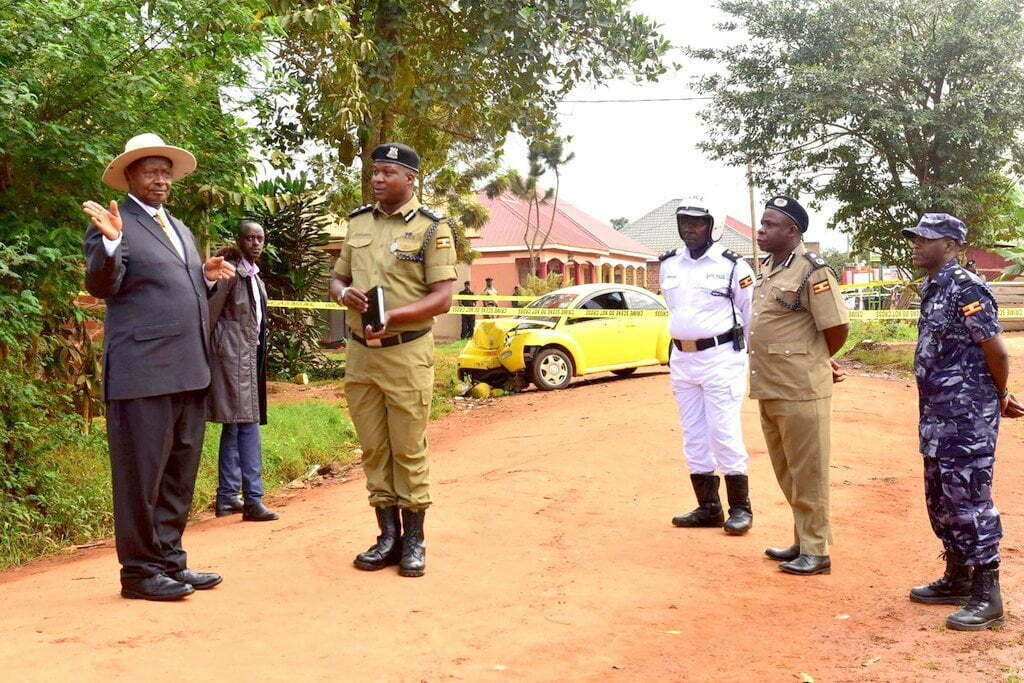 President Museveni at the crime scene where Abiriga was killed