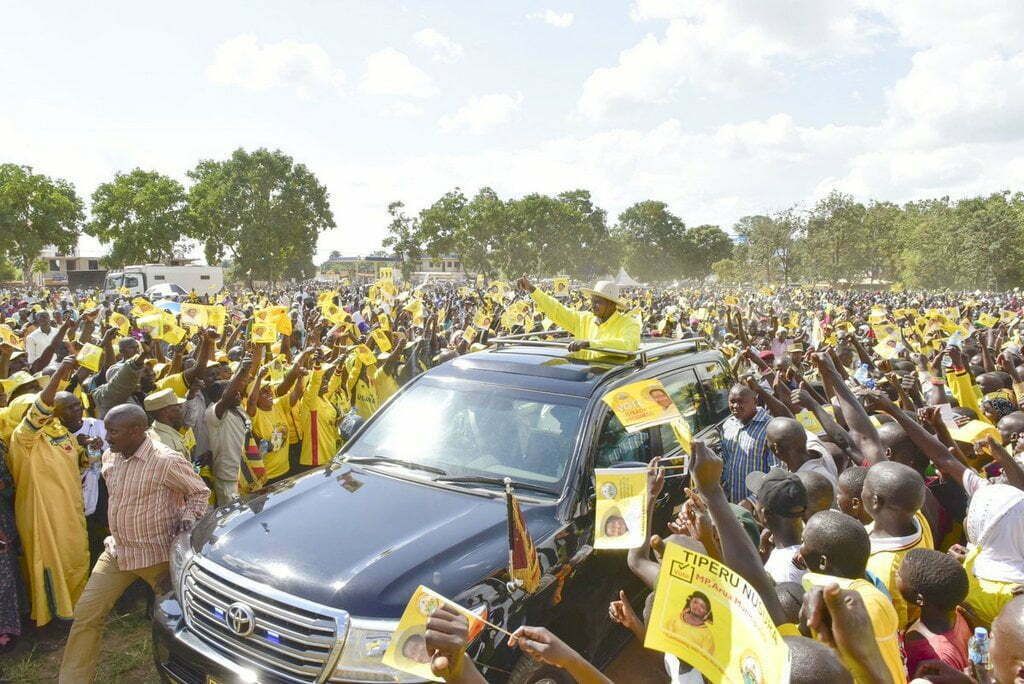 President Museveni in Arua Municipality yesterday campaigning for NRM candidate, Tiperu Nusura