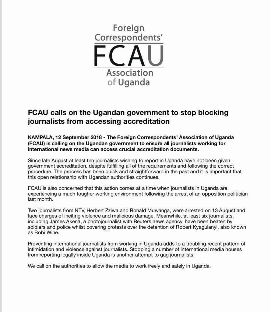 Foreign journalists accuse Ugandan gov't of denying them accreditation