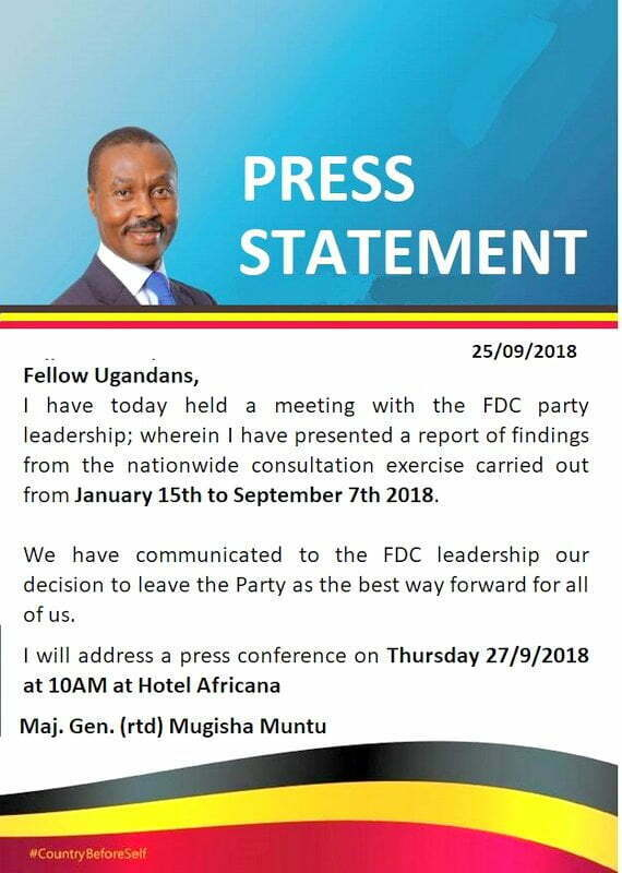 Gen. Mugisha Muntu apologises for 'Premature' Acquittal Statement