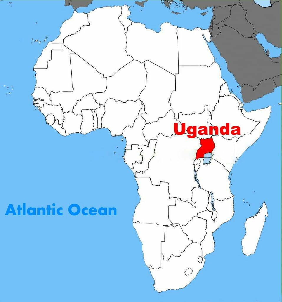 uganda location on the africa map