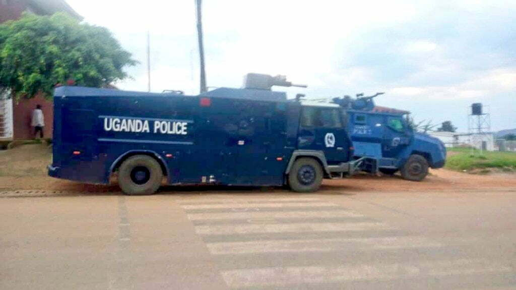 Police trucks deployed in Rukungiri today