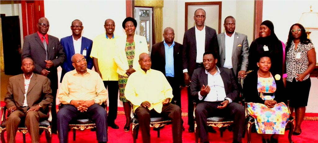 President Museveni meeting members of the Inter-Party Organization for Dialogue (IPOD) at State House Entebbe