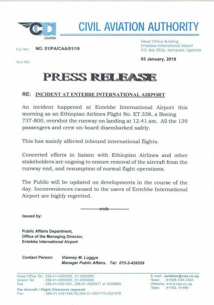 Ethiopian passenger plane overshoots runway at Entebbe International Airport