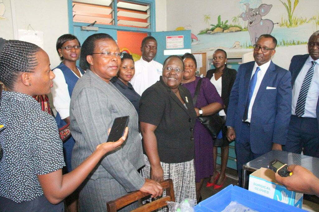 NSSF and Blood Transfusion Service official visited a ward when children were receiving blood at Mulago Hospital