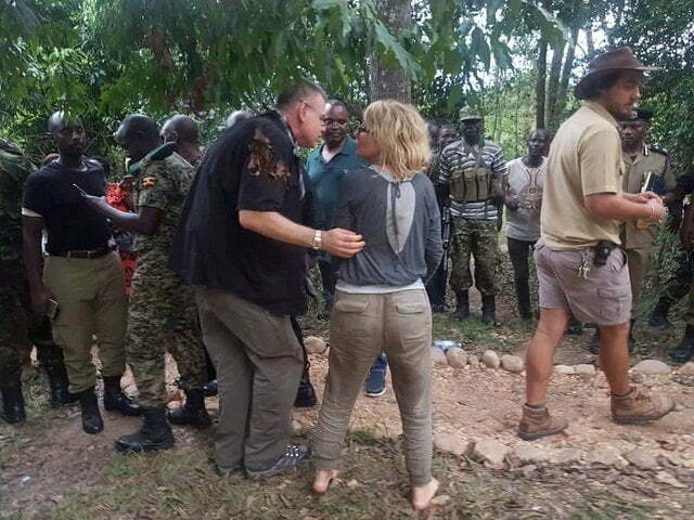American tourist Kimberly Sue Endicott and her Ugandan tour guide Jean Paul Mirenge rescued