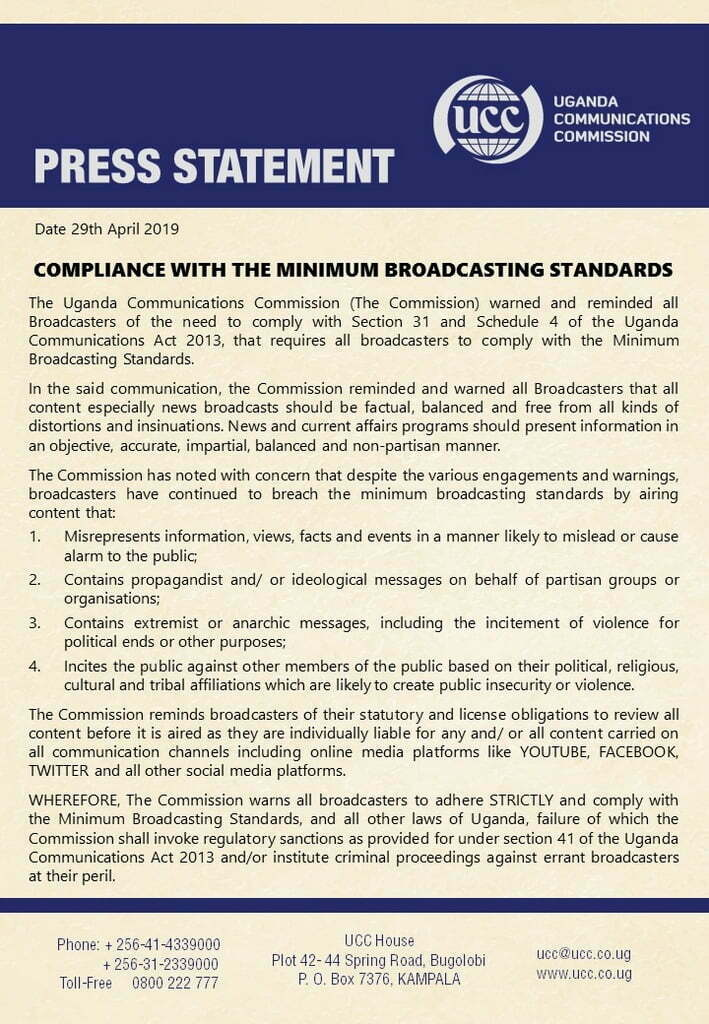 UCC report finds five media houses 'guilty' of breaching minimum broadcasting standards