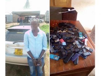 Allan Ggayi, one of the suspects arrested with stolen mobile phones